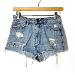 BDG High Rise Dree Cheeky Jean Shorts Distressed